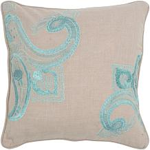 18 x 18 Embroidered Lily Pillow - Khaki and Blue