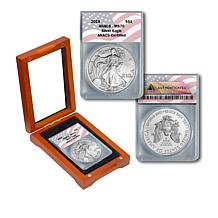 2018 MS70 ANACS W-Mint Silver Eagle Dollar Coin with Flag Label
