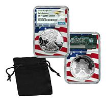 2020 PF70 NGC Early Release Silver Eagle Dollar Coin with Flag Core