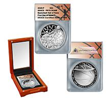 2020 PR70 ANACS FDOI LE 450 Basketball Hall of Fame Silver Dollar