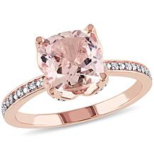 2.06ctw Pink Morganite and White Diamond Cocktail Ring