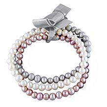 5-5.5mm Multi-Color Cultured Freshwater Pearl 3pc Stretch Bracelet Set