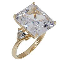 Absolute™ 10K Gold Cubic Zirconia Emerald-Cut and Trillion Ring