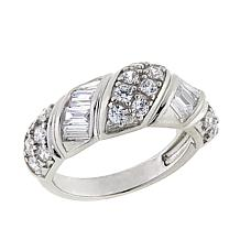 Absolute™ 1.25ctw CZ Sterling Silver Round and Baguette Band Ring