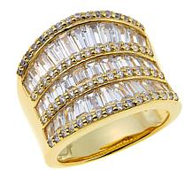Absolute™ 3.46ctw CZ Baguette and Round Multi-Row Saddle Ring