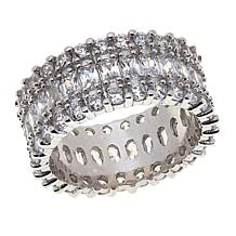 Absolute™  Cubic Zirconia Baguette and Round 3-Row Band Ring