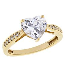 Absolute™ Gold-Plated Sterling Silver Heart-Cut Pavé Solitaire Ring