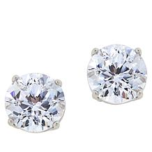 Absolute™ Sterling Silver Cubic Zirconia 120-Facet Round Stud Earrings