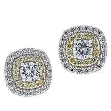 Absolute™ Sterling Silver Cubic Zirconia Double Pavé Stud Earrings