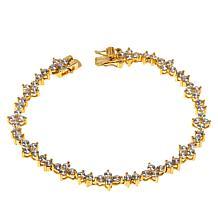 Absolute™ Sterling Silver Cubic Zirconia Floral Cluster Line Bracelet