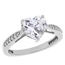 Absolute™  Sterling Silver Heart-Cut Pavé Solitaire Ring