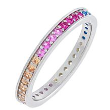 Absolute™ Sterling Silver Rainbow Channel-Set Round Cut Eternity Ring