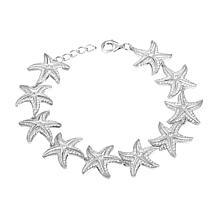 Alamea Sterling Silver Cubic Zirconia Starfish Link Bracelet