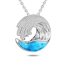 Alamea Sterling Silver Larimar Wave Pendant Necklace