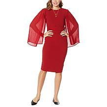 """Antthony """"All That Glitters"""" Pleated Chiffon Sleeve Dress"""