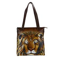 Anuschka Hand-Painted Leather Tall Zipper Shopper