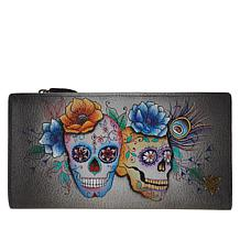 Anuschka Hand-Painted Leather Tri-Fold Organizer Wallet