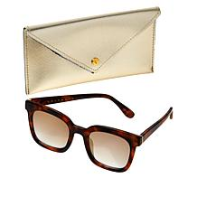 """""""As Is"""" Bethenny Medium Square Sunglasses with Case and Cleaning Cloth"""