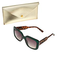 """As Is"" Bethenny Oversized Square Sunglasses with Case and Cleaning..."