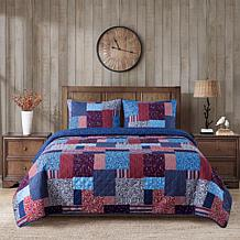"""""""As Is"""" Country Living Home Collection Big Patch 3-piece Printed Qu..."""