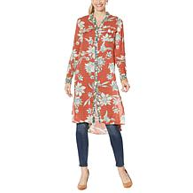 """As Is"" Jessica Simpson Lori Printed Button-Down Duster Shirt"