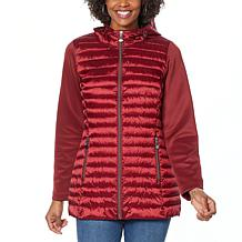 """""""As Is"""" Laurier Hooded Puffer Jacket with Soft Shell Sleeves"""