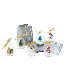 """""""As Is"""" Winter Lane Set of 6 Illuminated LED Glass Ornaments with G..."""