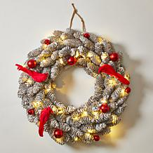 """august & leo 18.8"""" Pinecone and Red Cardinal 30-LED Wreath with Timer"""