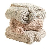 august & leo Chenille Knit Throw with Pom Poms