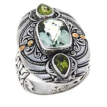 Bali Designs 3-Stone Sterling Silver Scrollwork Ring