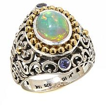 Bali Designs Ethiopian Opal and Tanzanite 2-Tone Ring
