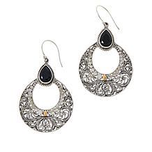 Bali Designs Sterling Silver and 18K Gem Scrollwork Drop Earrings