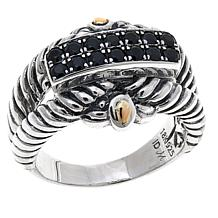 Bali Designs Sterling Silver and 18K Gold Black Spinel Cable Ring