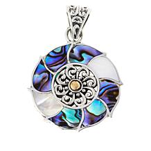 Bali RoManse Abalone and Mother-of-Pearl Flower Pendant