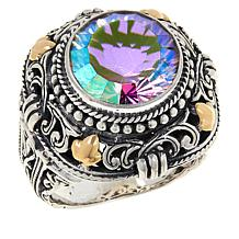 Bali RoManse Sterling Silver and 18K Gold Exotic Color Quartz Ring