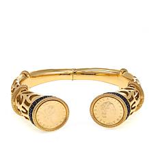 Bellezza 50 Lira Coin Black Spinel Bronze Scroll Cutout Cuff Bracelet
