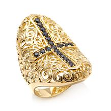 Bellezza .68ctw Black Spinel Concave Filigree Cross Ring