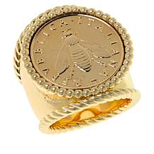 Bellezza Bee Lira Coin Bronze Hammered Ring