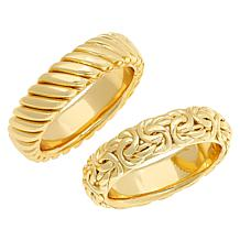 Bellezza Bronze Rope and Byzantine Stack Ring 2-piece Set
