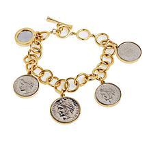 Bellezza Italian Coin Rolo Chain Charm Bracelet