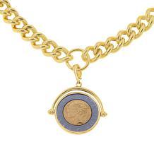 Bellezza Lira Coin Bronze Flip Pendant with Curb-Link Necklace