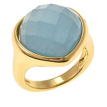 Bellezza Milky Aquamarine Bronze Pear-Shaped Ring