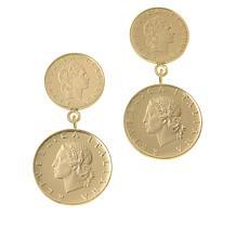 Bellezza Multi-Lira Coin Bronze Graduated Drop Earrings