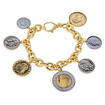 Bellezza Multi-Lira Coin Ribbed Link Charm Bracelet