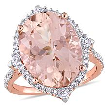 Bellini 14K Rose Gold Diamond, Morganite and White Sapphire Ring