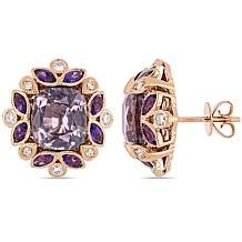 Bellini 14K Rose Gold Spinel, Amethyst and Diamond Stud Earrings