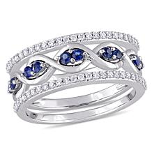 Bellini 14K White Gold 0.54ctw Diamond & Blue Sapphire 3pc Ring Set