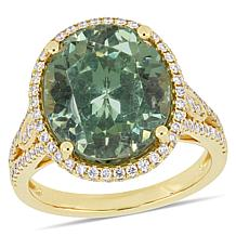 Bellini 14K Yellow Gold Oval Apatite and Diamond Cocktail Ring