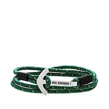 Ben Sherman Men's Anchor Hook Wraparound Green Cord Bracelet