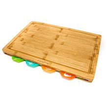 BergHOFF Bamboo 5-piece Cutting Board with 4 Multi-Colored Inserts